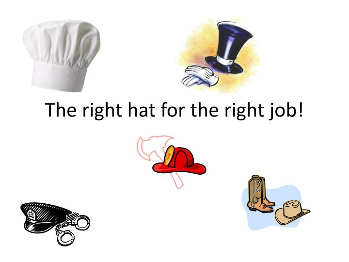 the right hat for the right job n.