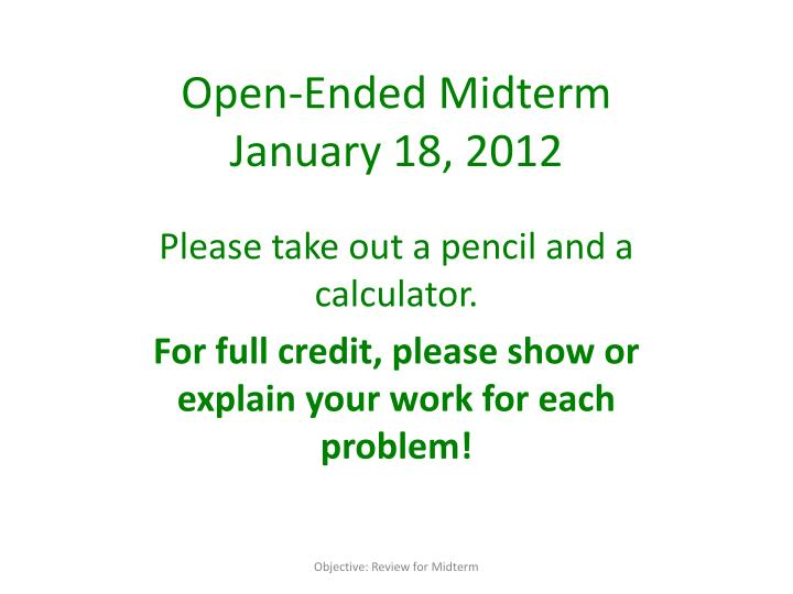 open ended midterm january 18 2012 n.