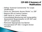 cip 005 5 summary of modifications