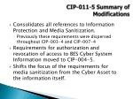 cip 011 5 summary of modifications