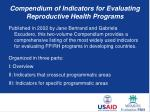 compendium of indicators for evaluating reproductive health programs