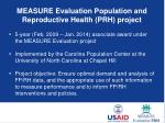 measure evaluation population and reproductive health prh project