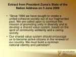 extract from president zuma s state of the nation address on 3 june 2009