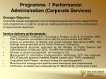 programme 1 performance administration corporate services