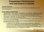 programme 2 performance arts and culture in society