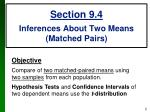 section 9 4 inferences about two means matched pairs