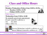 class and office hours