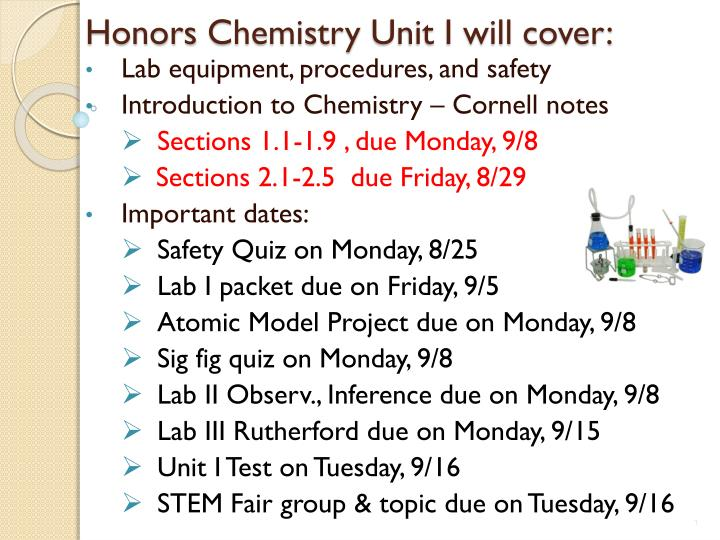 honors chemistry unit i will cover n.