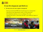 event development and delivery