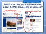where can i find out more information about the mhs counseling department