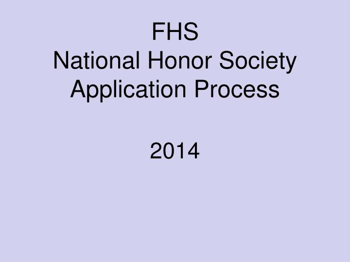 fhs national honor society application process n.