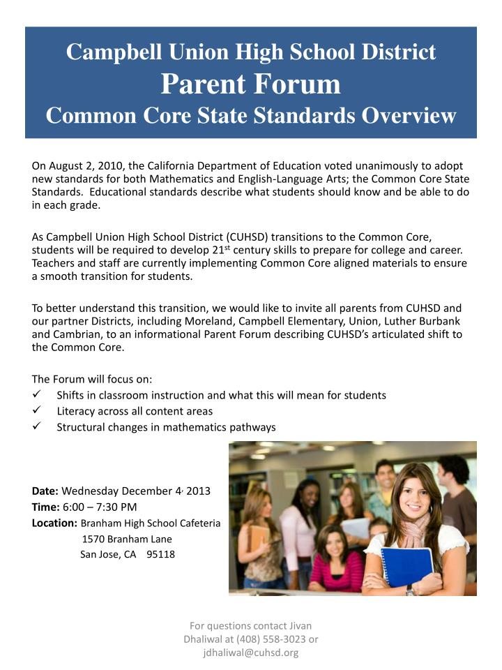 campbell union high school district parent forum common core state standards overview n.