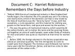document c harriet robinson remembers the days before industry