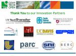 thank you to our innovation partners