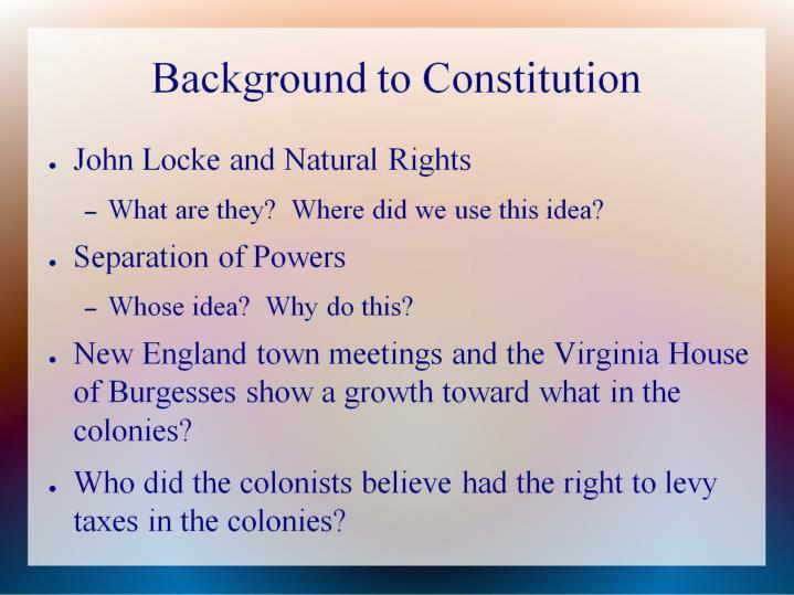 Background to constitution