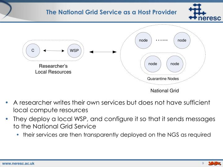 The National Grid Service as a Host Provider