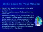 write goals for your mission