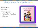 get to know your students di