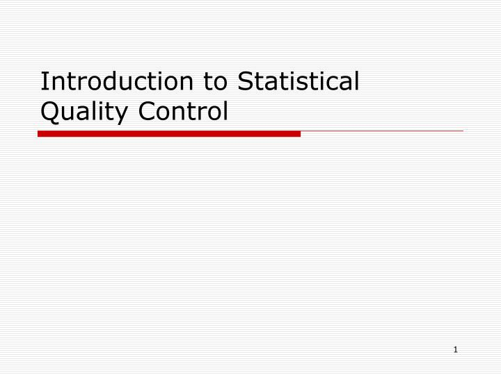 introduction to statistical quality control n.