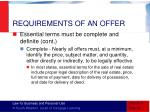 requirements of an offer7