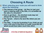 choosing a route