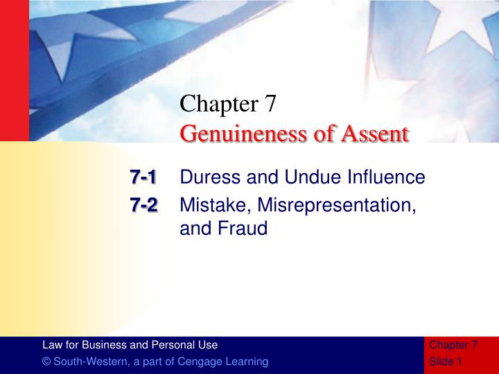 chapter 7 genuineness of assent n.