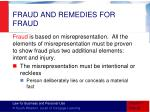 fraud and remedies for fraud
