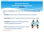electronic material family parent engagement objectives