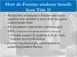 how do frontier students benefit from title 1