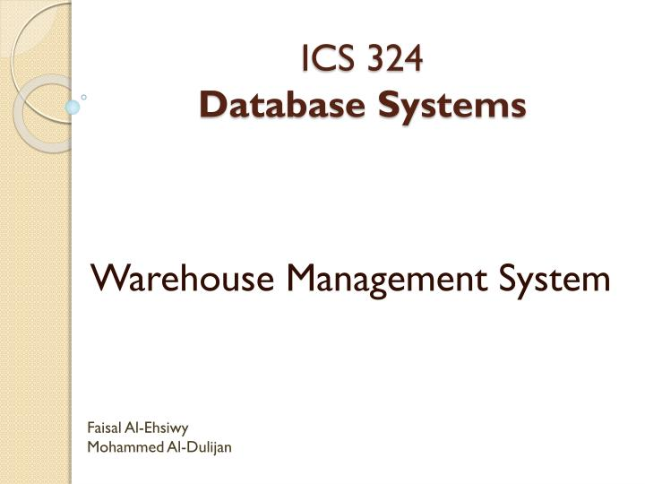 ics 324 database systems n.