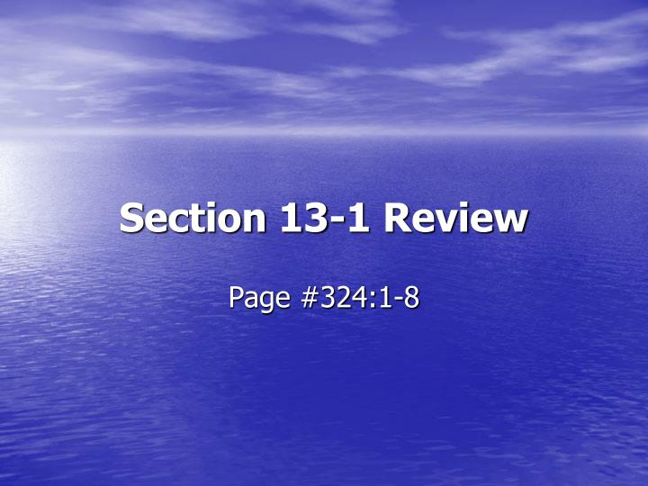 section 13 1 review n.