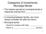 categories of investments municipal bonds