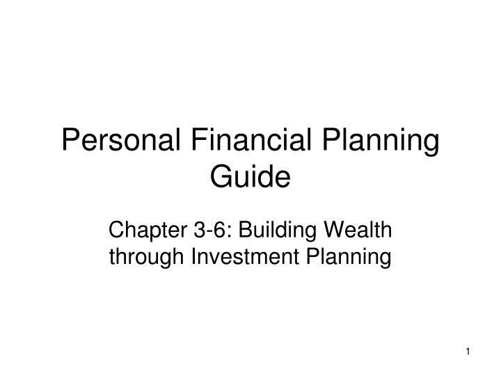 personal financial planning guide n.