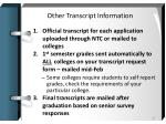other transcript information