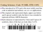 coding schemes code 39 mil std 1189