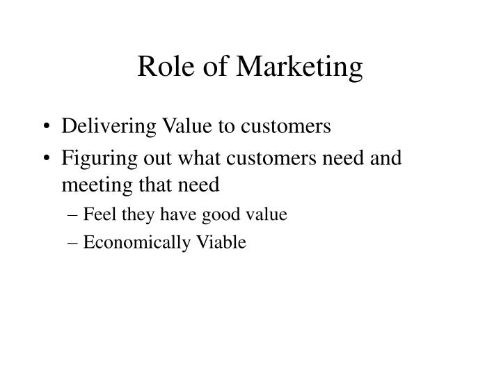 Role of Marketing