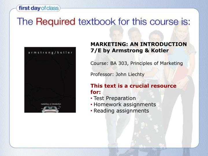 MARKETING: AN INTRODUCTION 7/E by Armstrong & Kotler