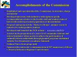 accomplishments of the commission