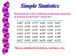 simple statistics