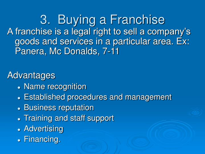 3.  Buying a Franchise