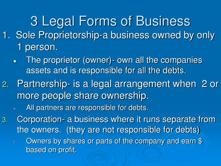 3 Legal Forms of Business