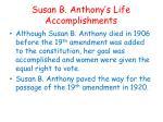 susan b anthony s life accomplishments