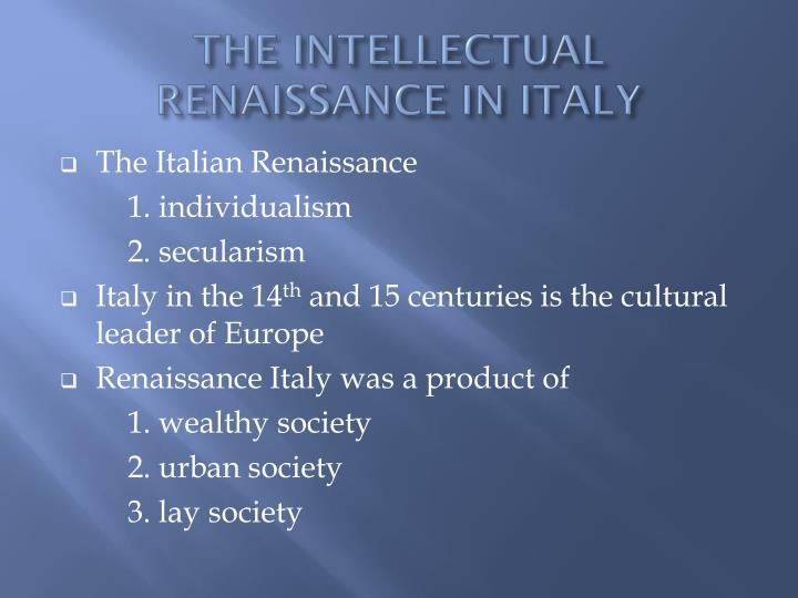 the intellectual renaissance in italy n.