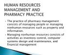 human resources management and pharmacy practice