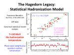 the hagedorn legacy statistical hadronization model