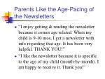 parents like the age pacing of the newsletters