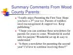 summary comments from wood county parents