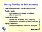 nursing activities for the community