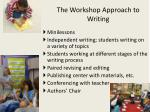 the workshop approach to writing