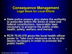 consequence management legal basis for local efforts